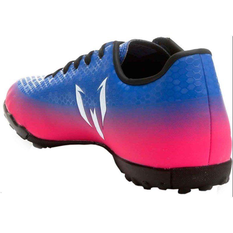 4cd2848523 31d093ffe728e0  Chuteira Futsal Adidas Messi 16.4 Infantil - Azul e Pink -  Linha Esporte 8f41f5a682a750 ...