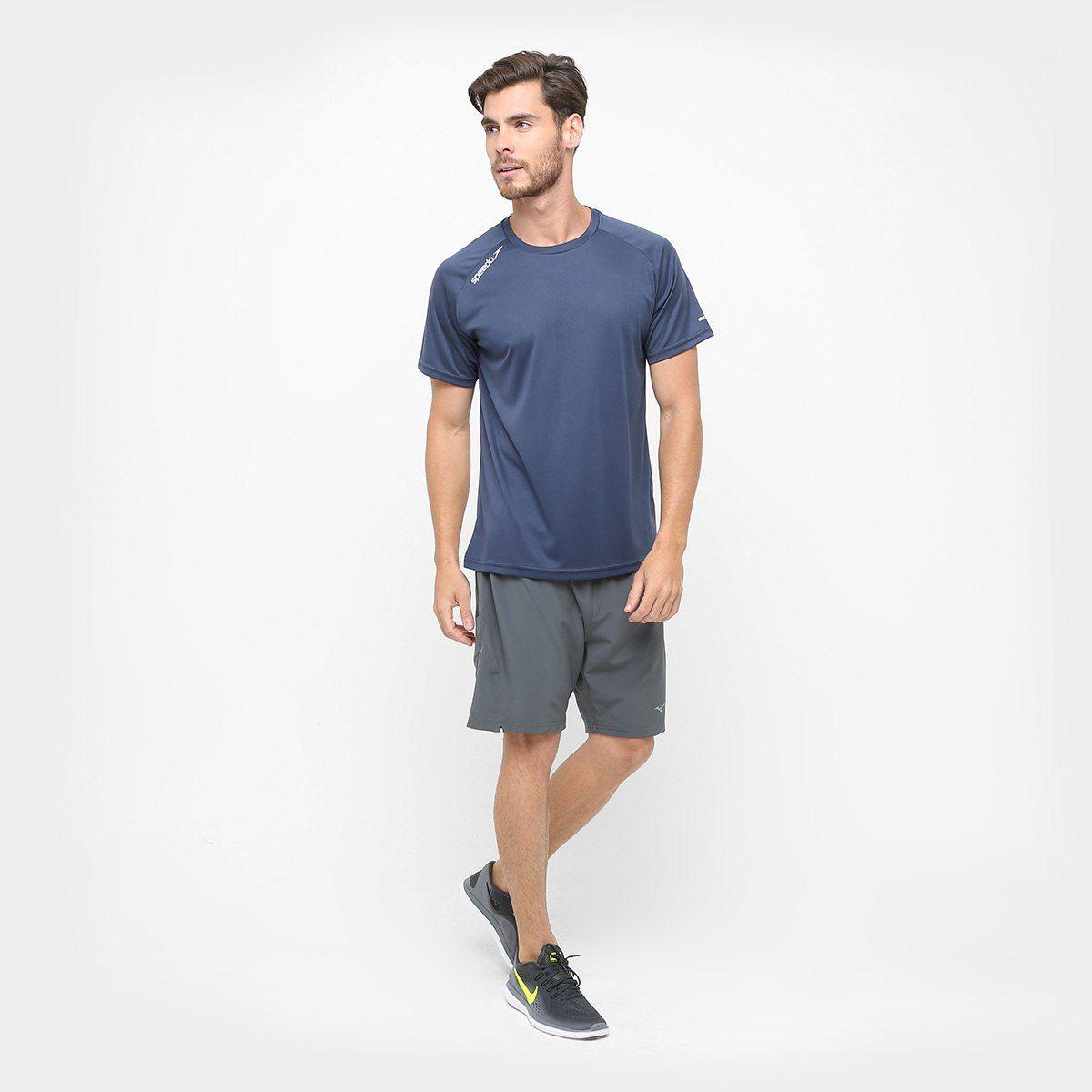 Camiseta Sppedo Masculina Raglan Basic UV50 Azul  Marinho