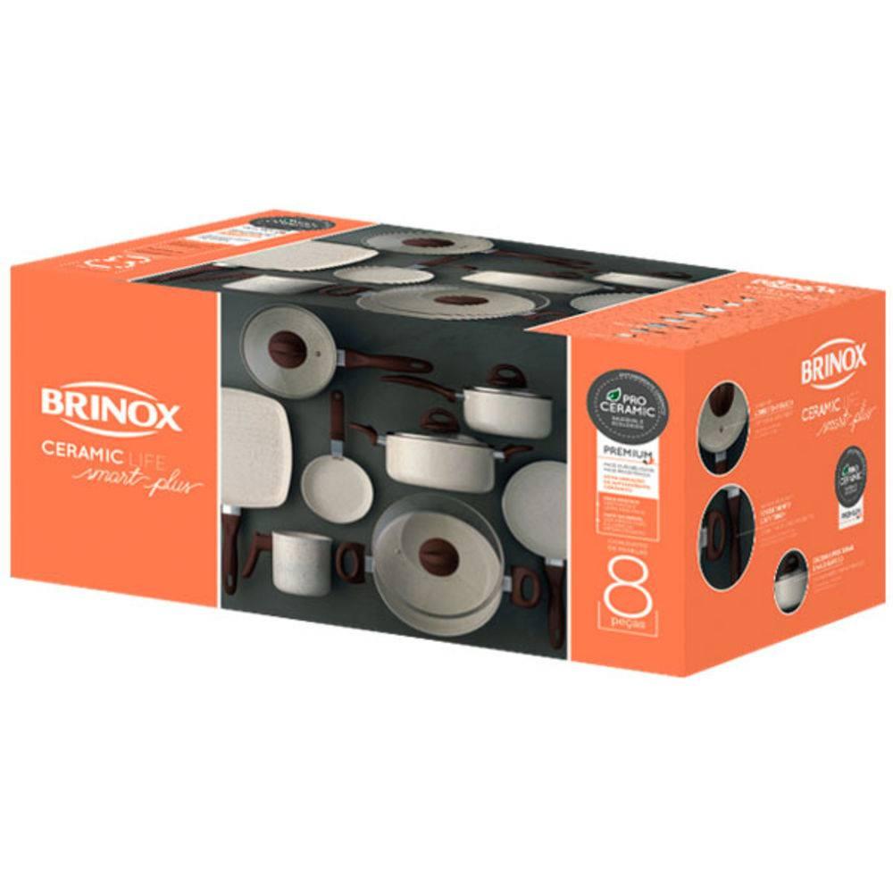 Conjunto De Panelas Life Smart Plus Cerâmica 8 Peças Vanilla 4791/105 Brinox