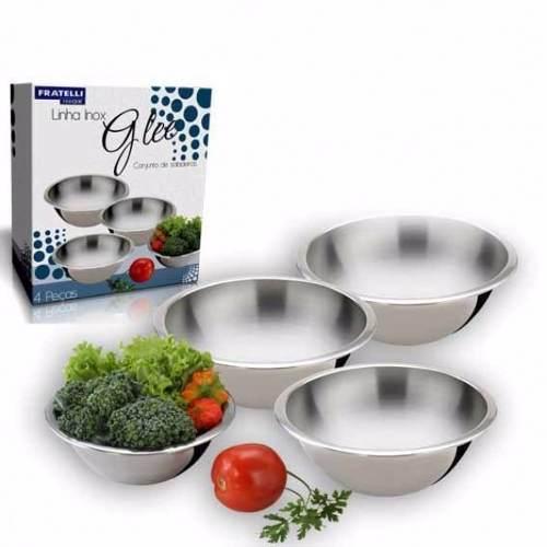 Conjunto de Saladeiras Fratelli Inox Kit 4 Potes