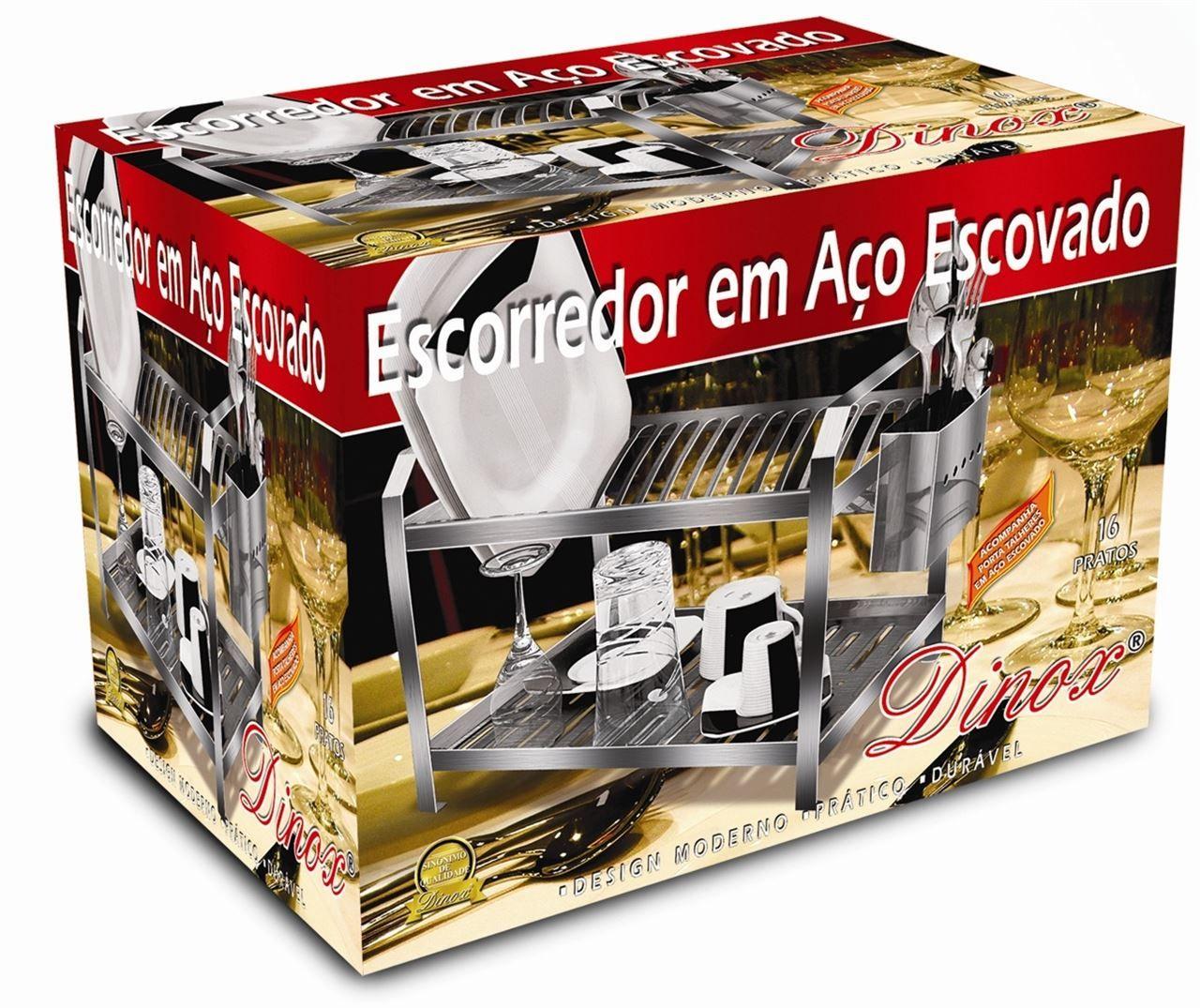 Escorredor De Louça Escovado 20 Pratos EPE003 Dinox