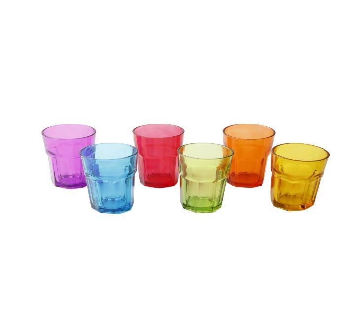 Jogo de 6 copos Shot de vidro Colorido - Lyor