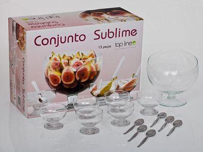 Jogo Sobremesa Sublime 13 peças Vidro - Top Line