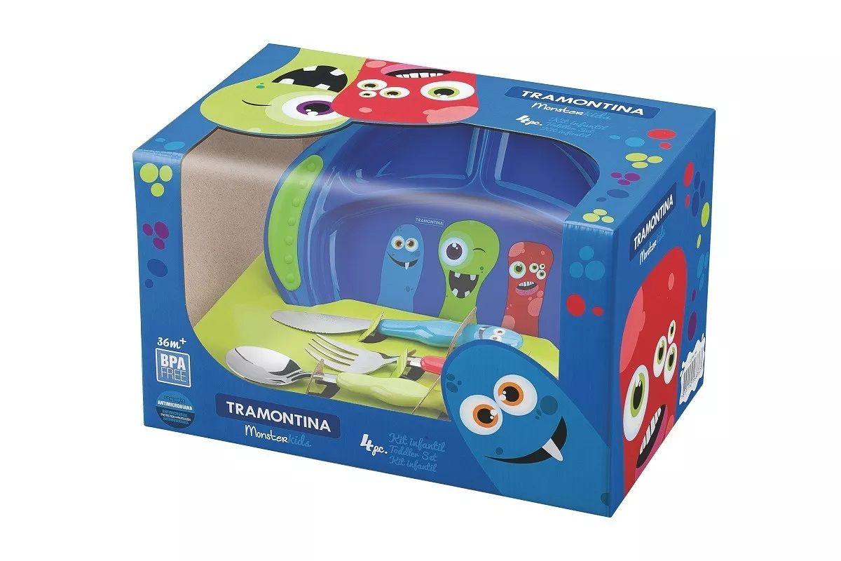 Kit Infantil 4 Peças Monster Baby Azul Tramontina