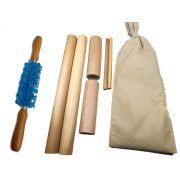 Kit para Massagem com Bambus e Rolo Turbinada Modeladora Azul