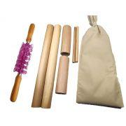 Kit para Massagem com Bambus e Rolo Turbinada Modeladora Rosa