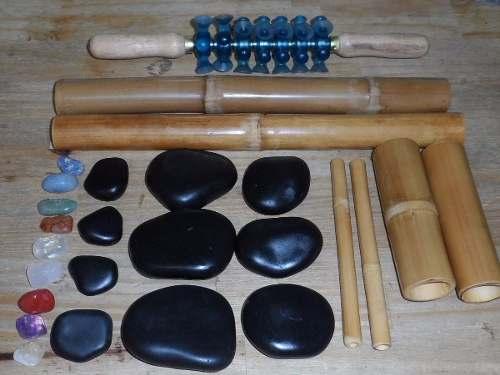 Kit De Pedras Quentes Para Massagens, Bambu, Rolo Turbinada