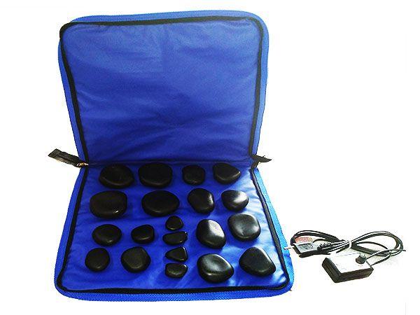 Kit para Massagem com Pedras Quentes Aquecedor e 20 pedras