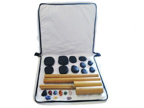 Kit para Massagens com Pedras Quentes e Bambuterapia