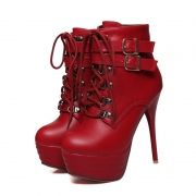 Ankle Boots Buckles Shoeslace