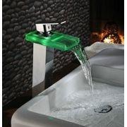 Torneira de LED Alta Banheiro Cascata muda de cor com a temperatura PD0001ALED