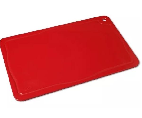 Placa De Corte Com Canaleta 50x30x1,5 Vermelha Pronyl REF: 120   - LZ COZINHA