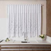 Cortina para Cozinha Branca e Estampa De Tulipinhas 210 por 150cm