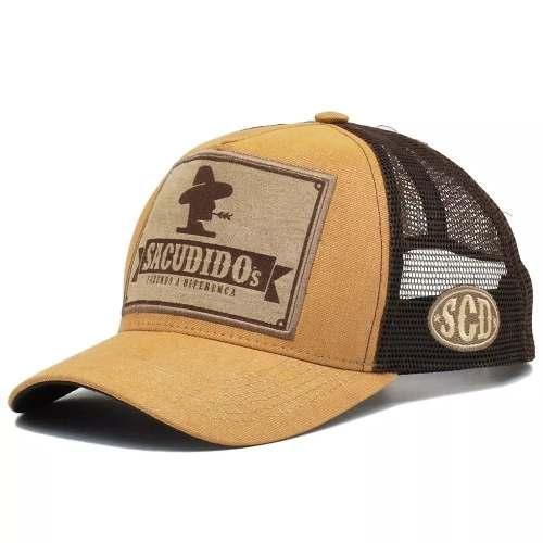 Boné Sacudido s Amarelo Tela Marrom Detalhe Frontal + Brinde - Cumpa ... acecc775453
