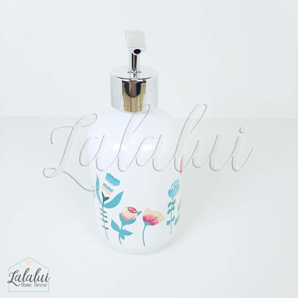 Dispenser   Flowers- branco 7x7x17cm 250mL (LA2115)