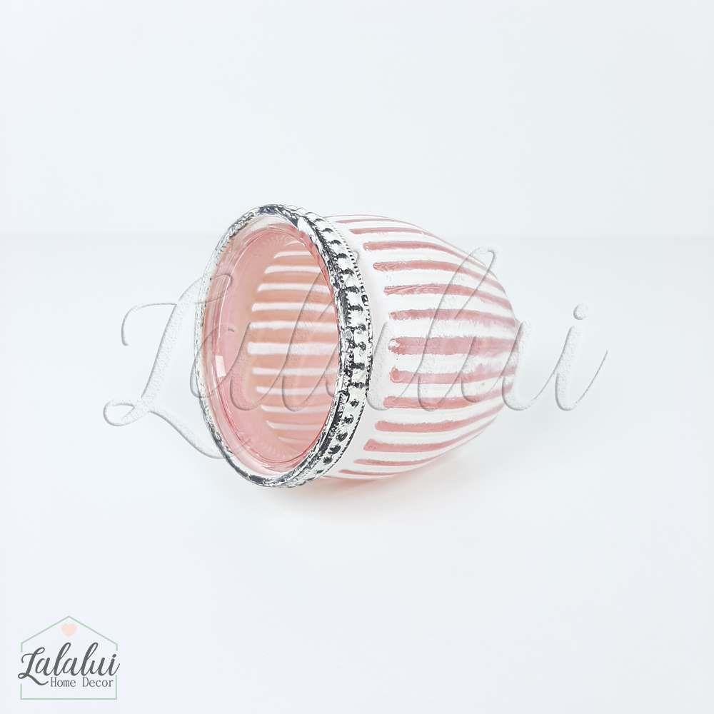Item Decorativo   Castiçal Vidro Listras Rosa 7x7x6,5cm (LA2145)