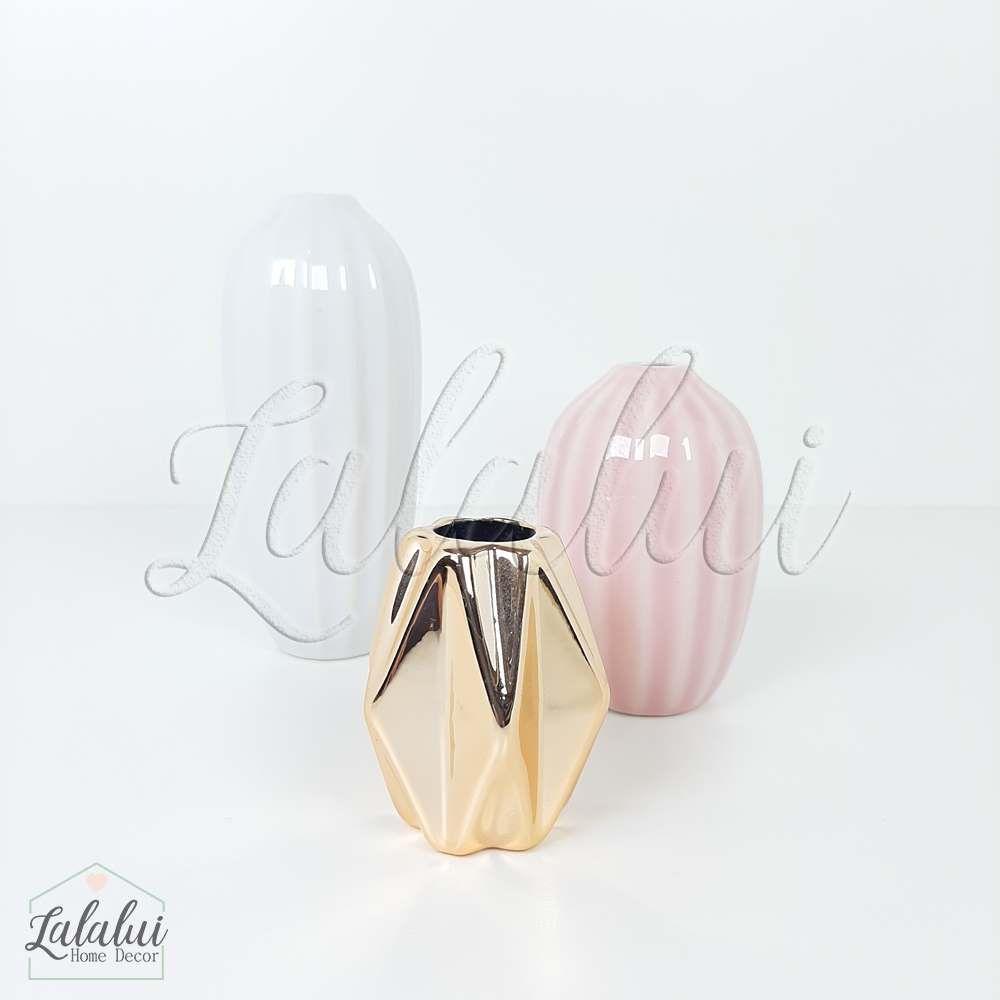 Item Decorativo | Kit 3 mini vasos porcelana -  branco/rosa/dourado (LA2129)