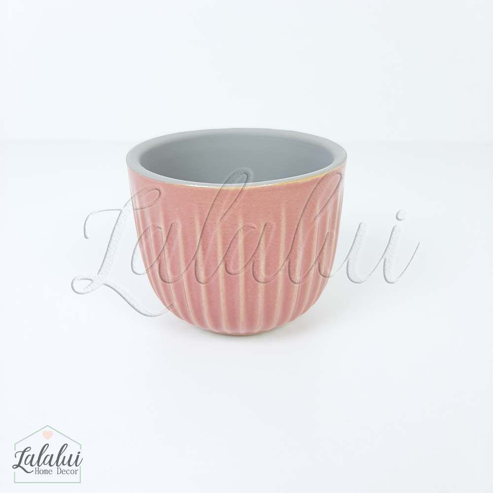 Item Decorativo | Mini cachepot ceramica risks rosa 7,5x7,5x6cm (LA2141)