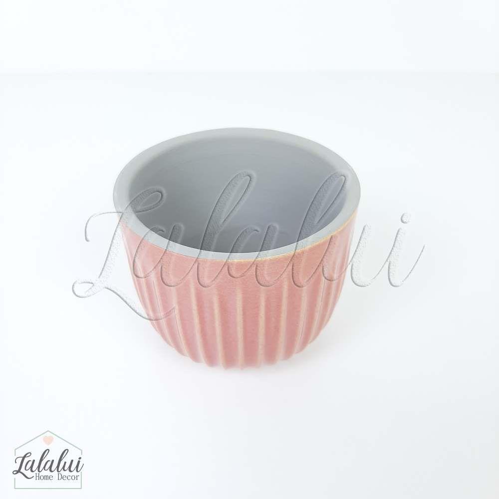 Item Decorativo | Mini cachepot ceramica risks rosa 7,5x7,5x6cm (LA2141)