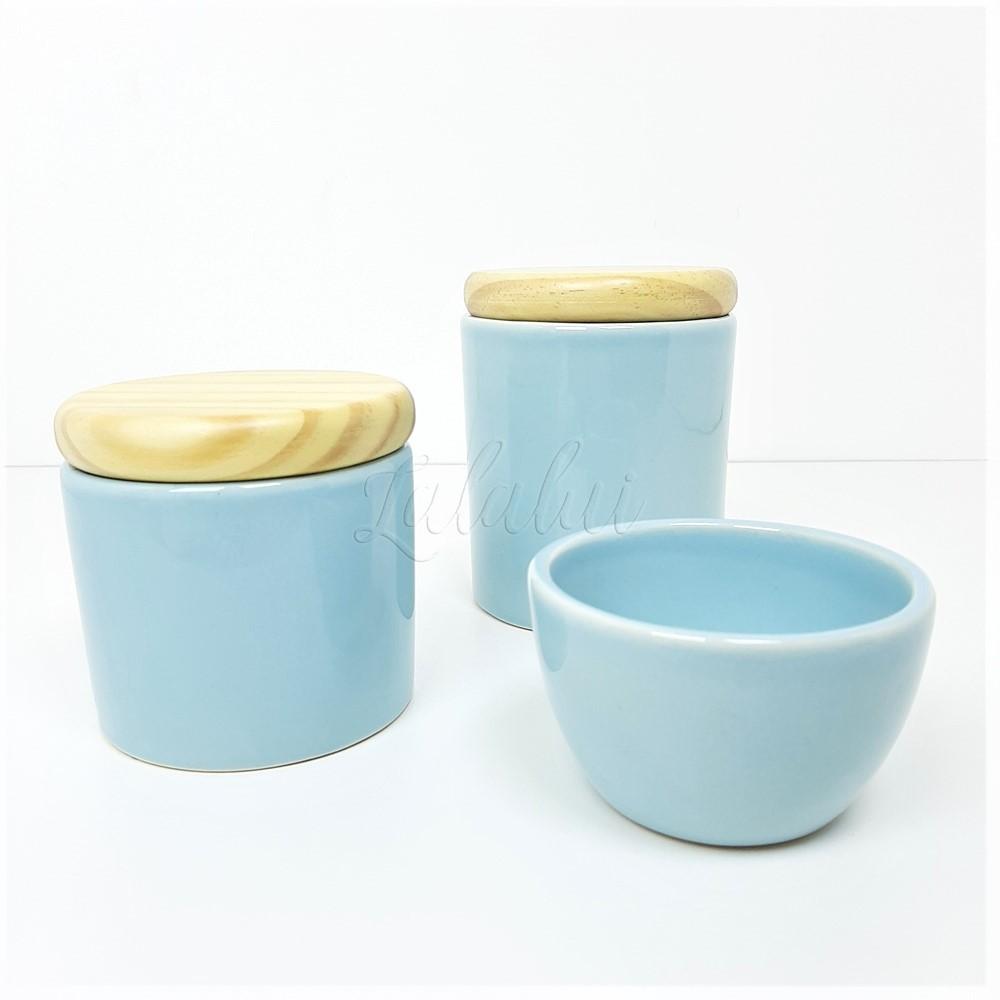 Kit de Potes | Azul candy com Tampa de Madeira (LA2269)