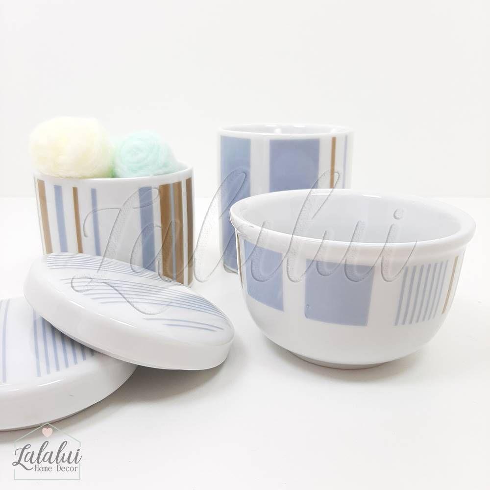 Kit de Potes   Branco com Listras Azul e Marrom (LA1035)