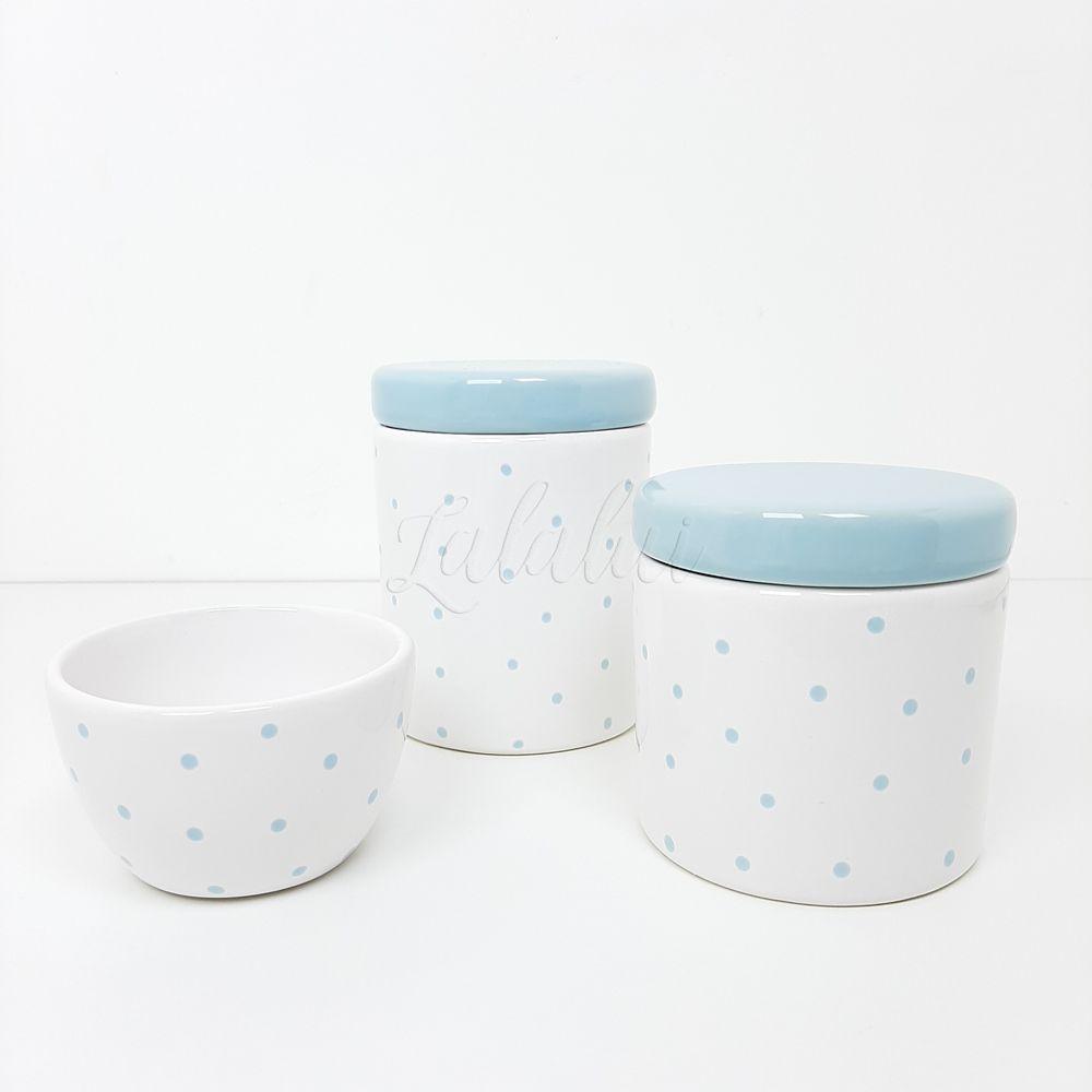 Kit de Potes | Branco com Poás Azul Candy (LA0320)