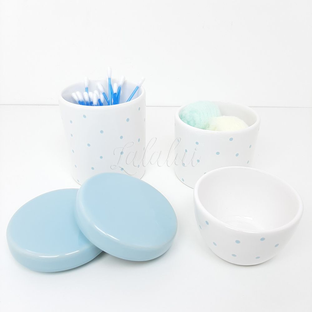 Kit de Potes   Branco com Poás Azul Candy (LA0320)