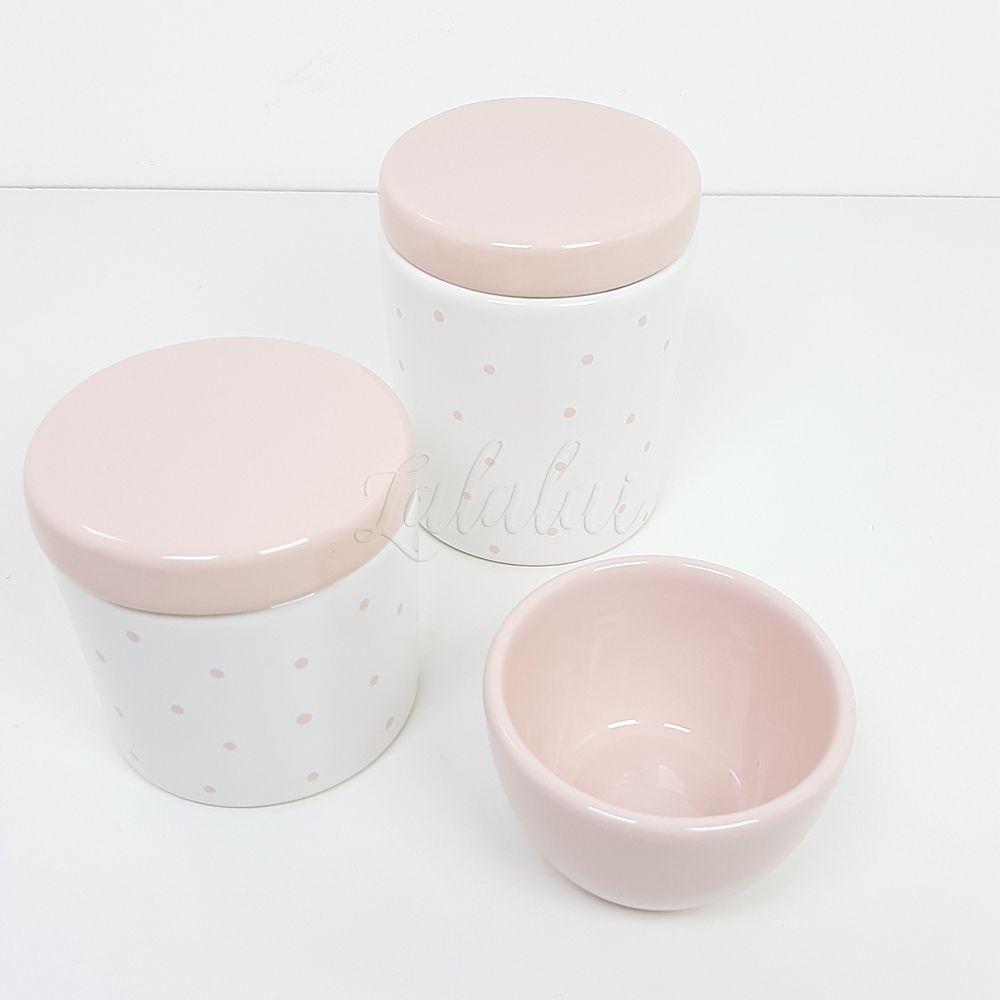 Kit de Potes | Branco e Rosa com Poá (LA2211)