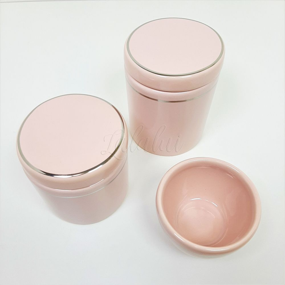 Kit de Potes | Rosa Candy com Filete Prata (LA2043)