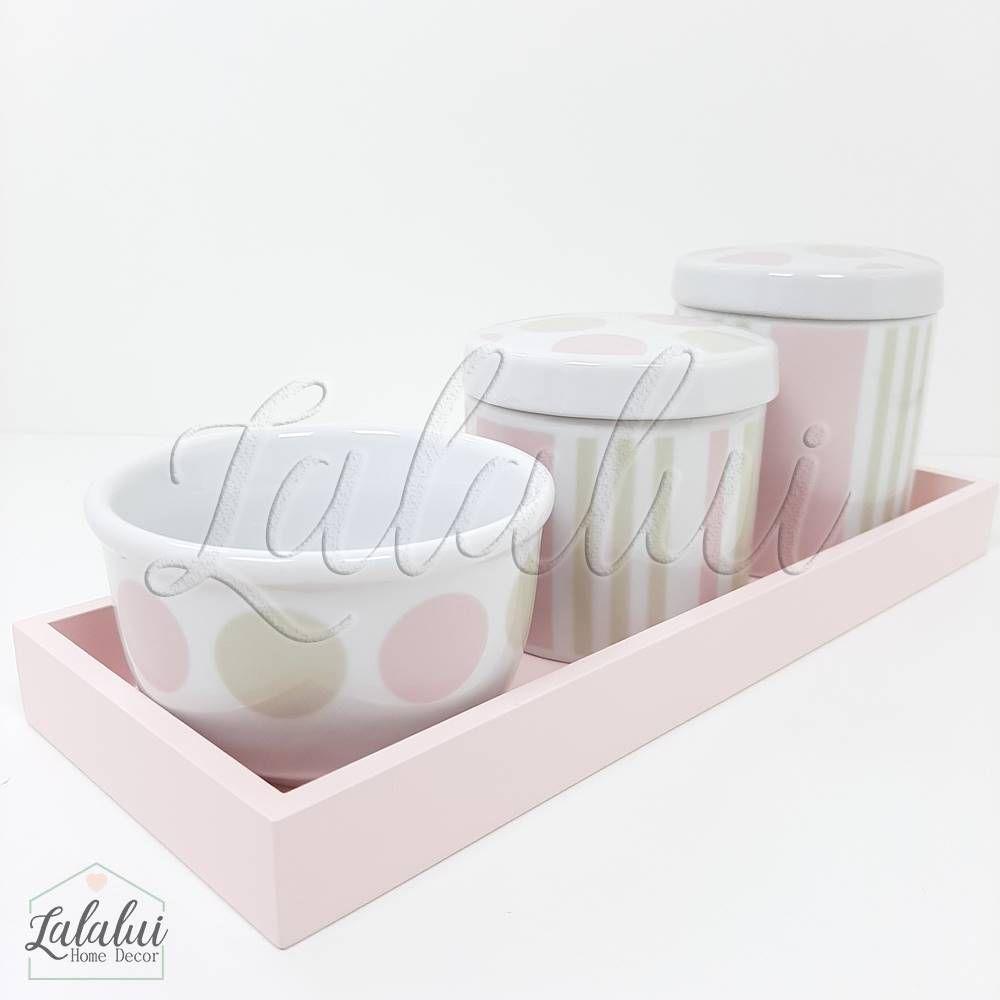 Kit Higiene | Bolas e Listras Rosa e Bege (LA2197)