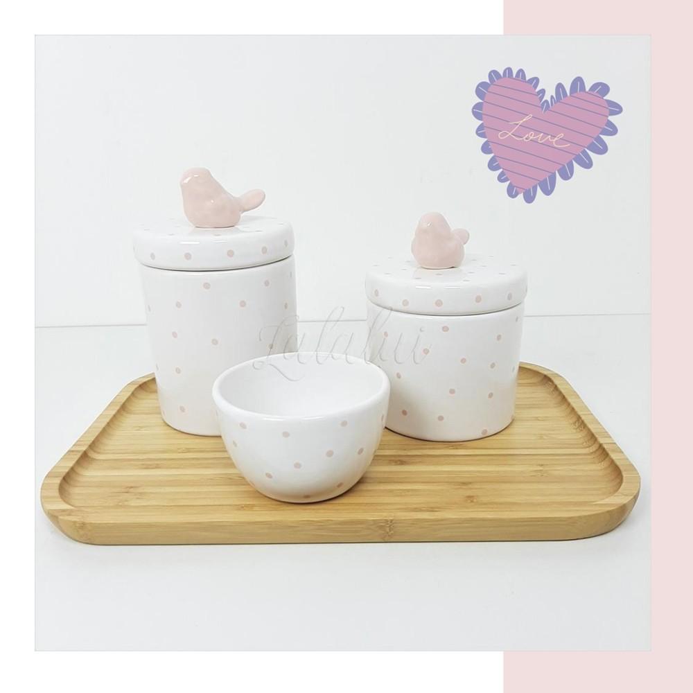 Kit Higiene | Branco com Poá Rosa e Passarinhos  (LA2247)