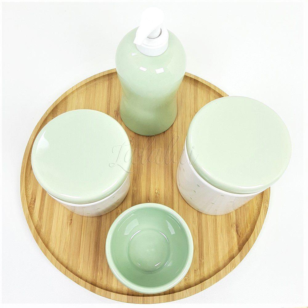 Kit Higiene | Branco com Poá Verde (LA2227)