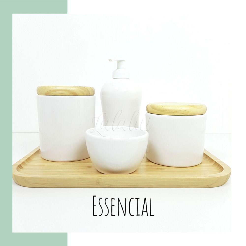 Kit Higiene | Branco e Madeira Natural (LA2175)