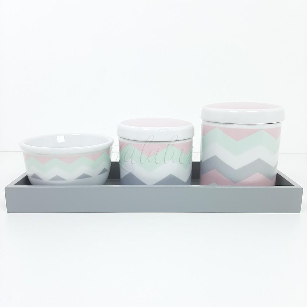 Kit Higiene | Chevron Rosa e Verde LA2287