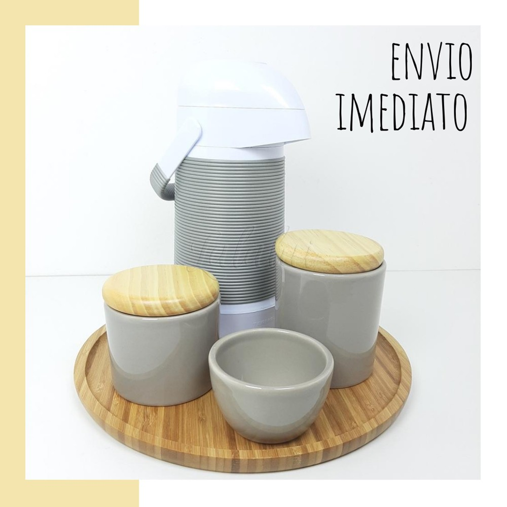 Kit Higiene | Cinza com Tampa de Madeira (LA2281)