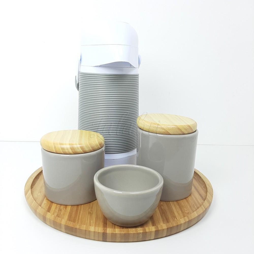 Kit Higiene   Cinza com Tampa de Madeira (LA2281)