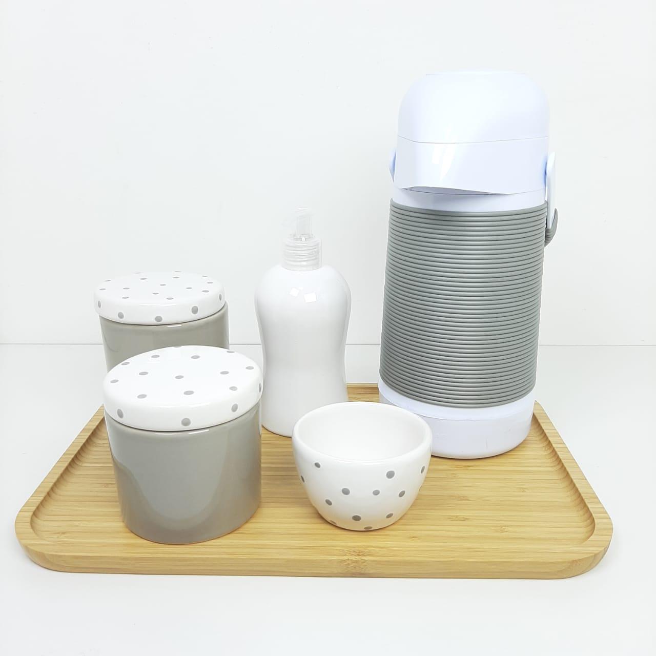 Kit Higiene | Cinza e Branco com Poá Cinza (LA2273)
