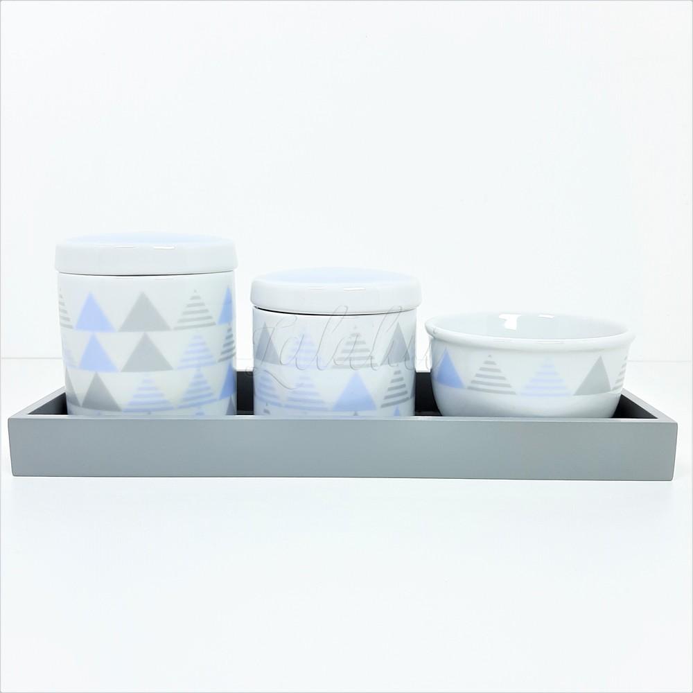 Kit Higiene   Geométrico Azul e Cinza (LA2185)