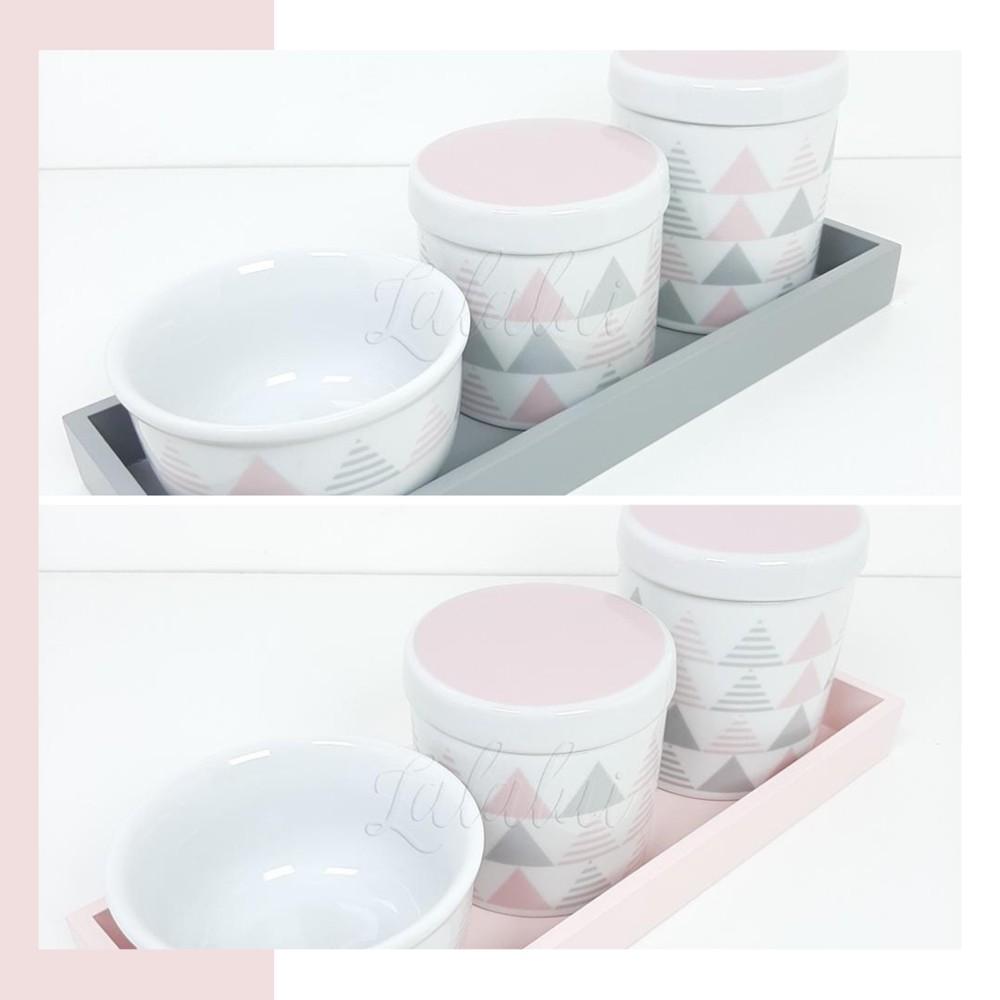 Kit Higiene | Geométrico Rosa e Cinza LA2285
