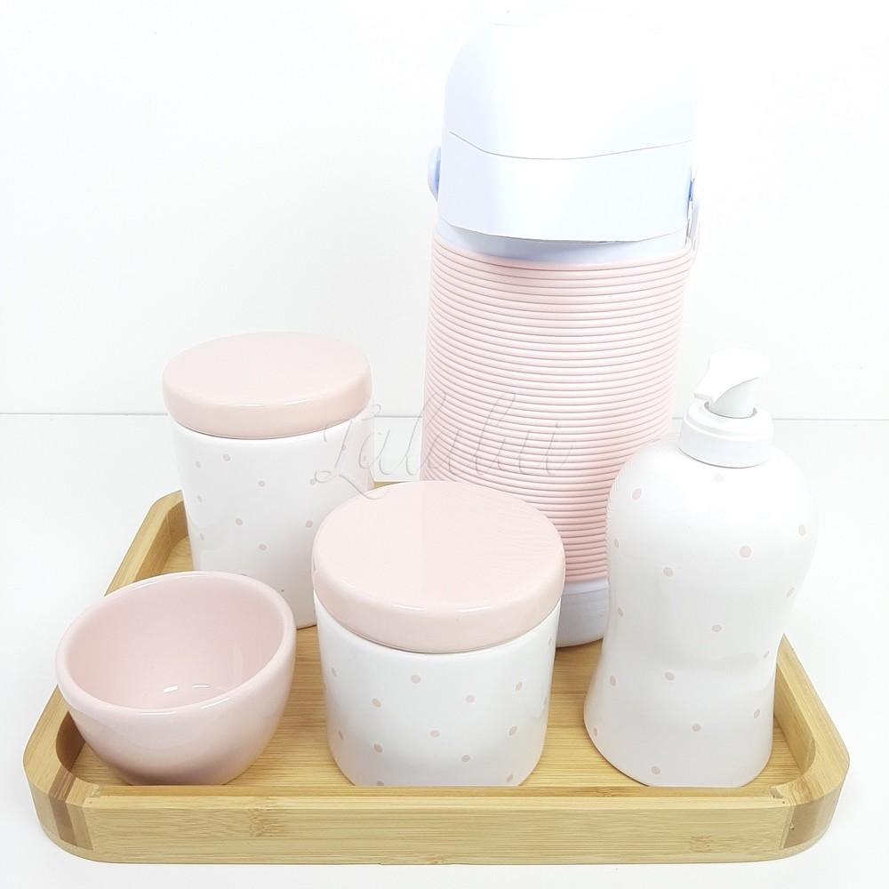 Kit Higiene | Rosa Candy e branco com Poá (LA2193)