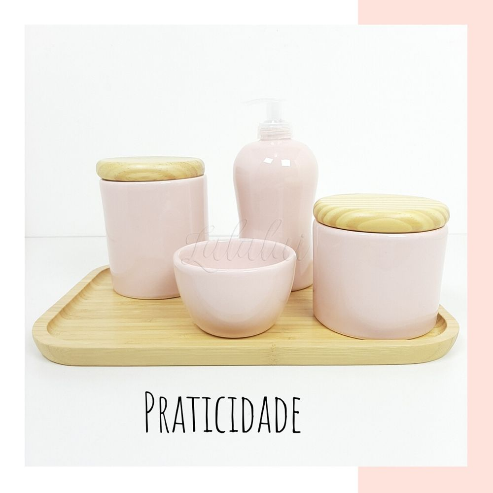 Kit Higiene | Rosa com Madeira Natural (LA2205)