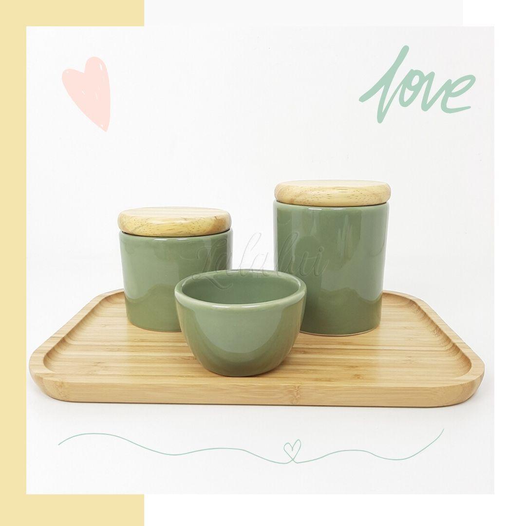 Kit Higiene | Verde Celadon com Tampa de Madeira (LA2257)