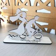Ref. 032 - Kit Lembrancinhas Casamento Noivos na Bike Bicicleta Personalizadas - MDF Branco