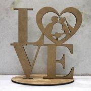 Topo de Bolo Casamento Noivos Coração Love - 15cm