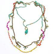 Bijuterias - Colar feminino, cristais, pérolas e corrente  -7548