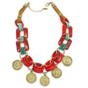 Bijuterias- Colar feminino elos e moedas - 8236