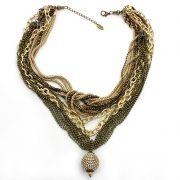 Colar feminino, corrente ouro velho, varias voltas e strass - 4356