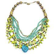 Colar feminino, cristais, cascalhos, pedras e miçangas - bijuteria - 8630