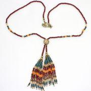 Colar feminino longo cristais - 5292