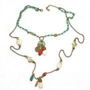 colar feminino longo cristais e pingentes - 5678